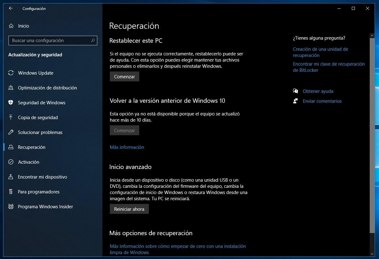 Recuperación de Windows 10